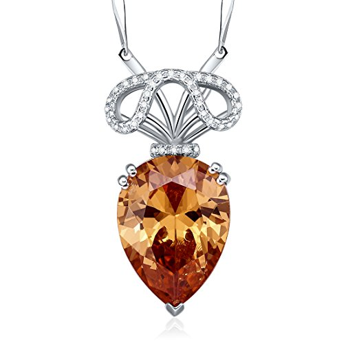 [Merthus 925 Sterling Silver Teardrop Morganite Gemstone Pendant Necklace,18