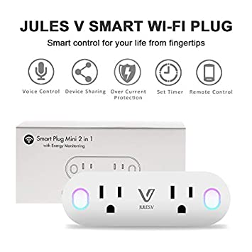 Wifi Smart Plug Dual Outlet – V JULES.V 2 in 1 WiFi Smart Socket with Voice and App Controlled, Works with Alexa IFTTT Google Assistant, 16A for Large Appliances, Remote Control from Anywhere 2 Pack