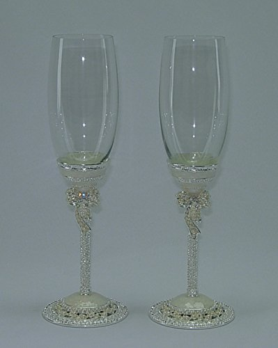 Pair of Medieval Mother of Pearl with Royal Bow Metal Stem Fully Decorated Champagne Flute Glasses Gift Set