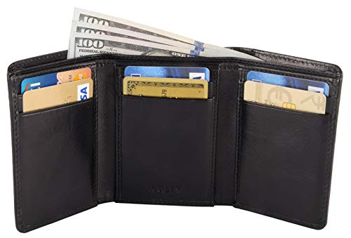 RFID Blocking Trifold Leather Wallet