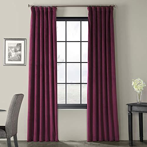 HPD Half Price Drapes VPCH-180104-96 Signature Blackout Velvet Curtain, 50 X 96, Cabernet (Drapes Purple Curtains Velvet)