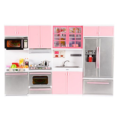 Emorefun Battery Powered Modern Kitchen Play Kitchen Set Pretend Play Kitchen Toys for Kids with Sound and Light