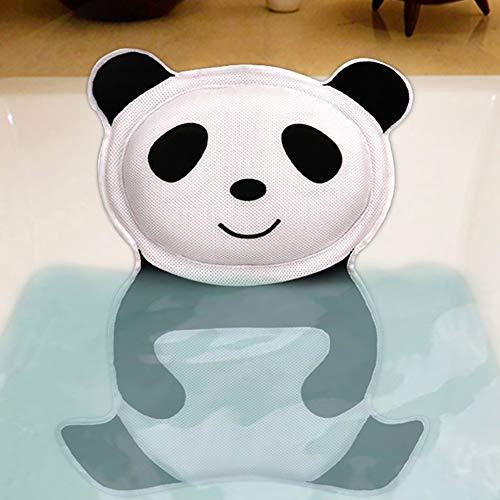 yanbirdfx 5D Panda Bathtub Pillow Non-Slip Suction Cup Home Spa Neck Head Support Cushion - Black+White