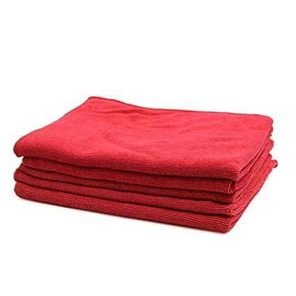 eDealMax 5pcs 250GSM 65 x 33cm Rojo multifuncional de microfibra de coches Lavado de toallas de