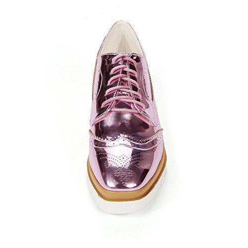 Zapatos planos de la manera del color zapatillas de deporte con cordones de las mujeres Kakaka Pink