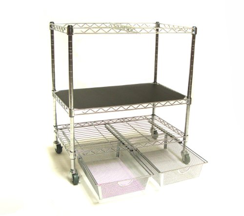 Seville Classics 3-Tier Mobile Letter/Legal Office File & Utility Cart with 2 Steel Wire Mesh Baskets by Seville Classics