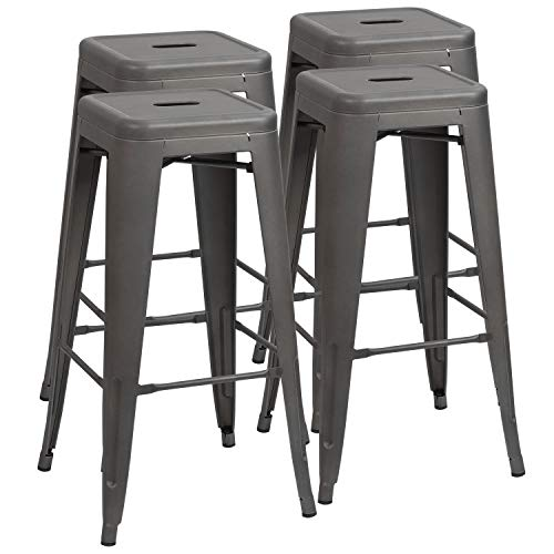 Furmax 30 Inches Gray Metal Bar Stools High Backless Stools Indoor-Outdoor Stackable Kitchen Stools (Set of 4) - Bench Stool Set