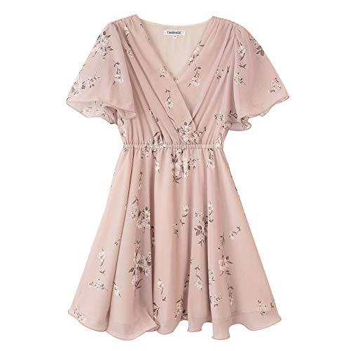 Dabuwawa Summer New Pink Floral Print Midi Dress Womens Elegant V-Neck Ruffles Holiday Dresses (Womens S) from Dabuwawa