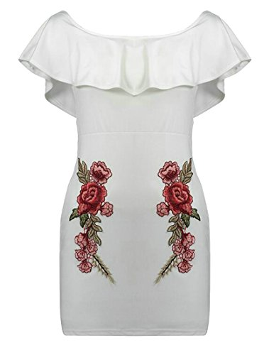 Cruiize Femmes Ajustement Broderie Volantée Manches Courtes Robe Épaules Blanc