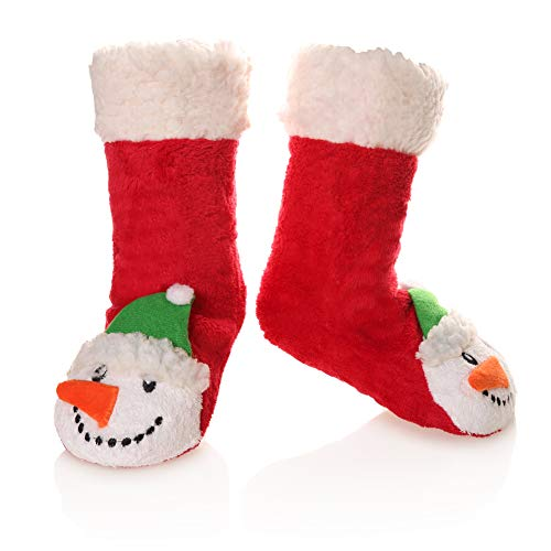 - Kid Boy Girl Soft Thick Warm Slipper Socks Winter Fleece Lined Fuzzy Christmas Stocking For Child Toddler Home Socks(Snowmen,5-8 Years)