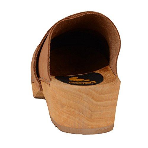 Vollsjo Women's Genuine Leather Wooden Clogs Made in EU Light Brown xcJajth