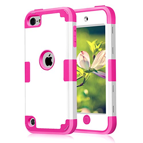 Case for iPod Touch 5 Case for iPod Touch 6 Case, 3 in 1 Hard PC Case + Silicone Shockproof Heavy Duty High Impact Armor Hard Case Cover for Apple iPod Touch 5 6th Generation (White+hot Pink) (Ipod Touch Best Price)