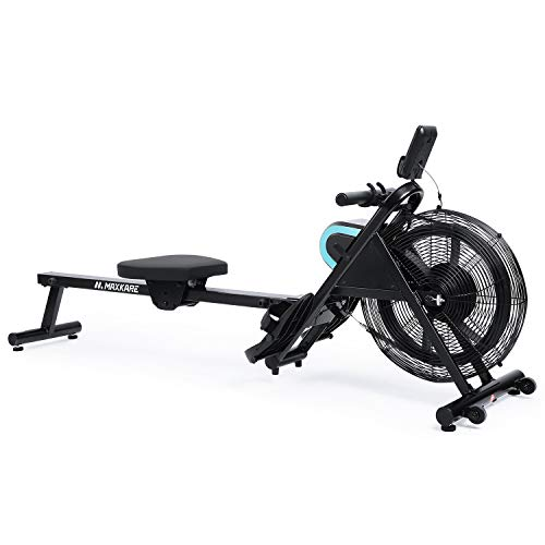 MaxKare Rowing Machine Air Rower Resistance Adjustable 51 Inch Long Rail Length with LCD Display Panel for Home Use