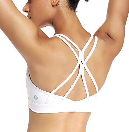 RUNNING GIRL Strappy Sports Bra for Women Sexy Crisscross Back Light Support Yoga Bra with Removable Cups(WX2310.White.M)