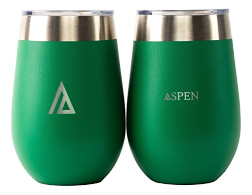 Aspen 12 oz Wine Glasses with Lid, Vacuum Insulated Double-Wall, Stainless Steel Tumbler (Set of (Metal Forest Green Powder)