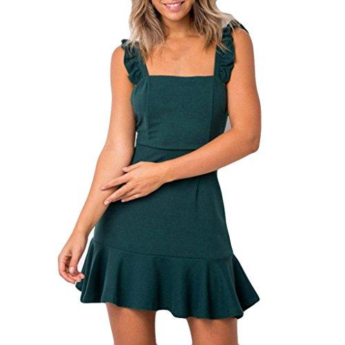 7d5fbdb874d5 Holeider Kleid Kleider Lang Sommer Damen Kleid Mini Fashion Sexy Ärmelloses  Abendfest Grün FKySz