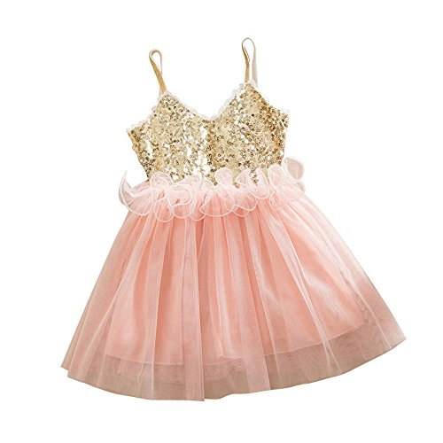 (Girl Baby Girl Beaded Trim Lace Back A-Line Tutu Tulle Party Flower Girl Dress (3-4 Years Old, Pink) )