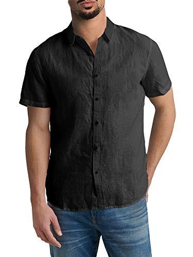 Mens Short Sleeve Shirts Botton Down Tops Fishing Tees Spread Collar Plain Summer -