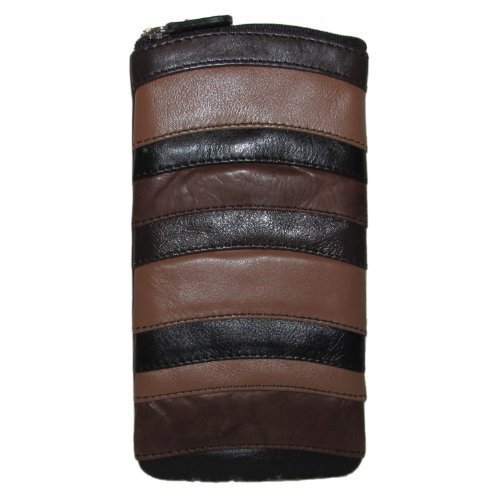ILI Womens Leather Striped Eyeglass Holder Case,One Size,Brown/ Black (Brown Leather Eyeglass Case)