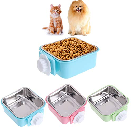 Luck Dawn Cat Crate Bowl, Stainless Steel Removable Cage Hanging Bowls with Bolt Holder for Dog - Puppy Steel Cage