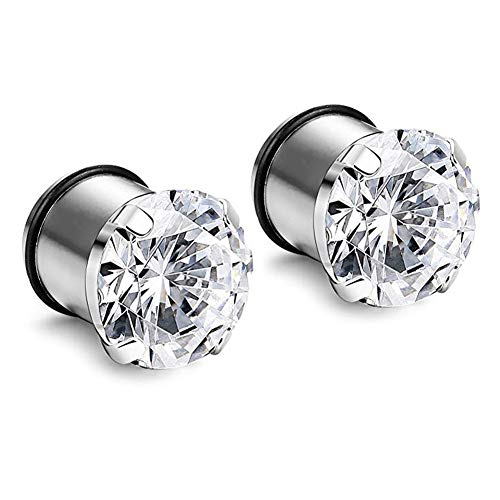 Longbeauty 6mm 2g Stainless Steel Prong Set Clear CZ Ear Plugs Tunnels Stretcher Expander Piercing Gauges with O-Ring ()