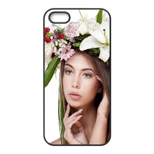 Brunette Wreath Flowers Look coque iPhone 4 4S cellulaire cas coque de téléphone cas téléphone cellulaire noir couvercle EEEXLKNBC23923