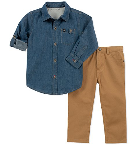 Calvin Klein - Conjunto de 2 Piezas de pantalón y Camisa para bebé, Color Azul/Caqui, 24 m