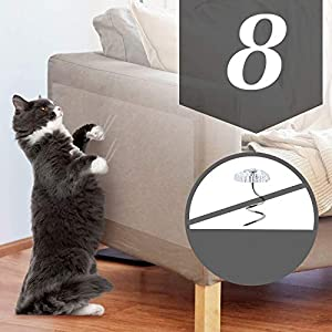 OIFIO Cat Couch Protector, Double Sided Clear Anti-Scratch Cat Deterrent Training Tape, 8 Pack larack Large Size and Pre…