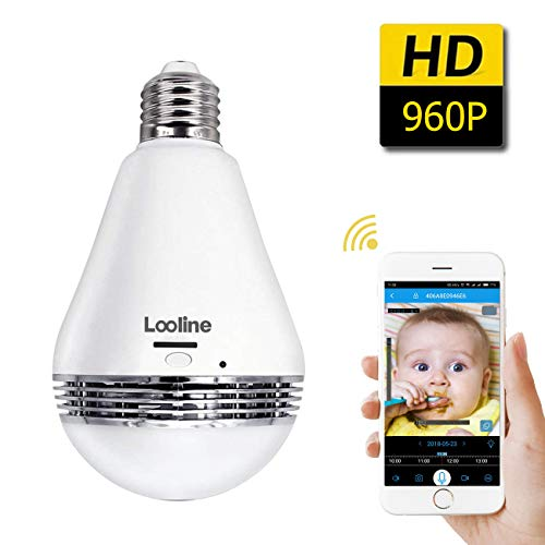 Light Bulb Camera VR Panoramic IP Wireless WiFi Camera with Cloud Storage 360 Degree Fisheye Lens Lighting Lamp for Home Security Camera Bulb 960P HD...