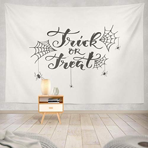 Hdmly Treat Tapestry Wall Hanging Decor, Decorative Wall Tapestry Scary Spiders and Spiderweb White Trick Decoration 60