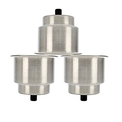 Amarine-made 3pcs Stainless Steel Cup Drink Holder with Drain Marine Boat Rv Camper