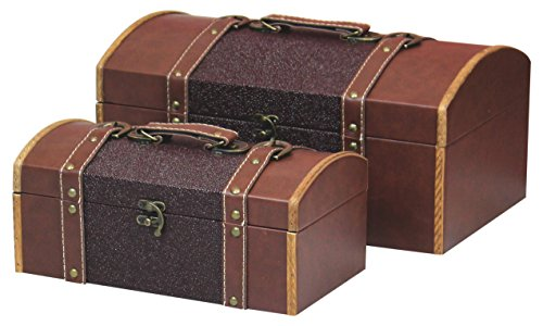 Vintiquewise TM Set of Two Leather Designer Decorative Storage Trunks by Vintiquewise