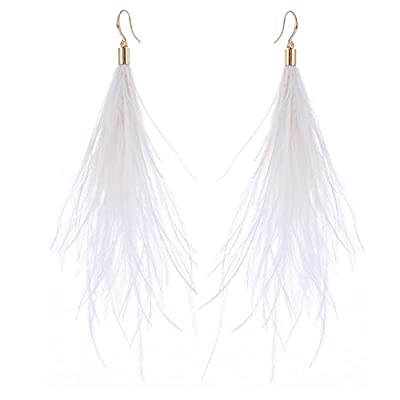 Cheap Women Long Dangle Earring Feather Elegant Thread Feather Jewelry for Gift Winter Party Bohemian for cheap