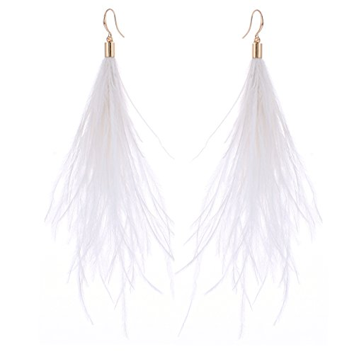 Natural Feather Jewelry Earrings (Women Long Dangle Earring Feather Elegant Thread Feather Jewelry for Gift Winter Party Bohemian (White, gold-plated-copper))