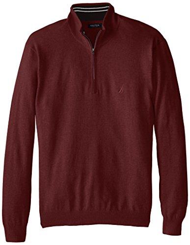 Nautica Men's Big-Tall 1/4 Zip Solid Sweater, Burgundy, 5X