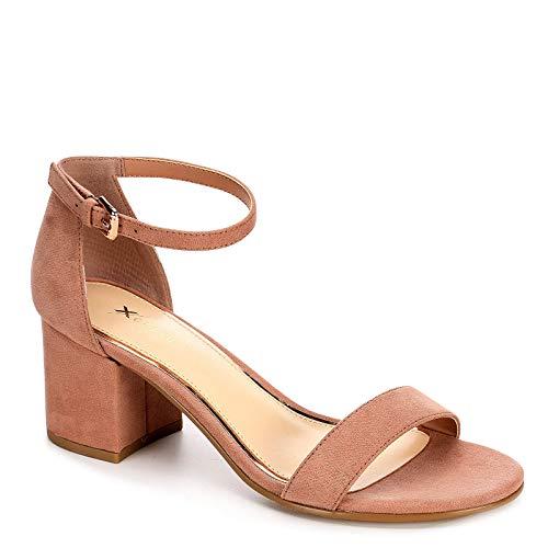 XAPPEAL Womens Harlow Block Heel Dress Sandal Shoes, Blush, US 10
