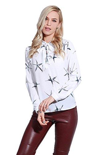 adam & eve® - Estrella de las mujeres impreso arco nudo cuello de manga larga de la camisa de las mujeres ocasionales Rosa