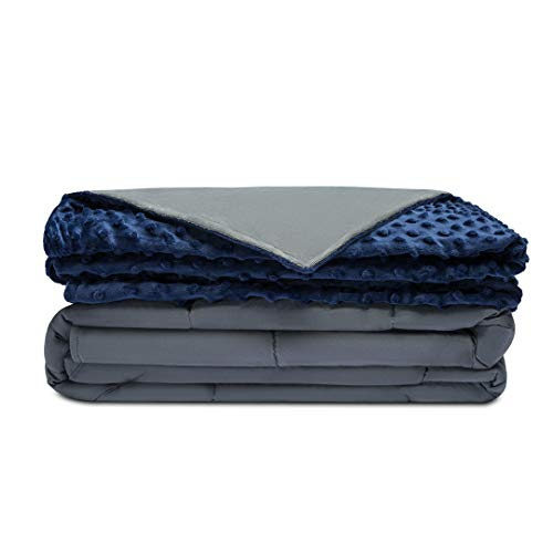 Quility Premium Adult Weighted Blanket & Removable Cover | 20 lbs | 60%u201Dx80%u201D | 170-230 lbs | Queen Size Bed | Compression Therapy for Anxiety, Stress, Insomnia, ADHD | Cotton/Minky | Grey/Navy Blue