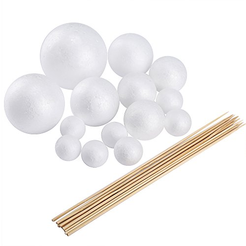 Pllieay Make Your Own Solar System Model with 14 Mixed Sized Polystyrene Spheres Balls and 10 Pieces 24 cm  Bamboo Sticks for School Projects