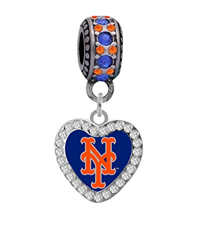 Final Touch Gifts New York Mets Swirl Heart Charm with Connector Bead Fits European Style Large Hole Bead Bracelets