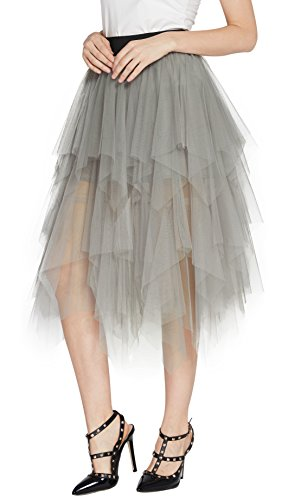 Urban CoCo Women's Sheer Tutu Skirt Tulle Mesh Layered Midi Skirt (XL, Light Gray) -