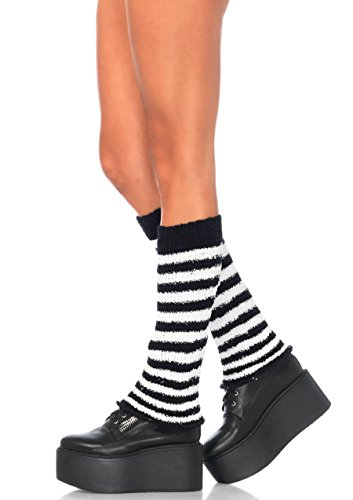 Leg Avenue Womens Fuzzy Striped Leg Warmers ()