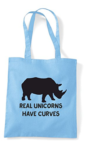 Real Positive Sky Unicorns Blue Have Tote Rhino Funny Image Bag Shopper Curves Body IUrUxP