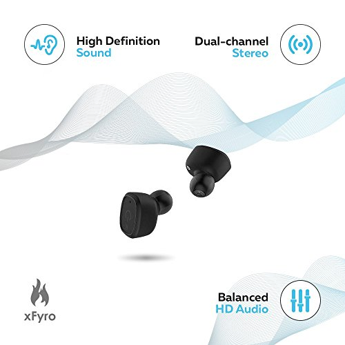 Wireless Earbuds xFyro xS2 Best Bluetooth Headphones with Microphone IPX7 Waterproof Sweatproof Sports Earphones with Stereo Noise Cancelling Headsets for iPhone and Android Charging Case v2 (Black) by xFyro (Image #1)