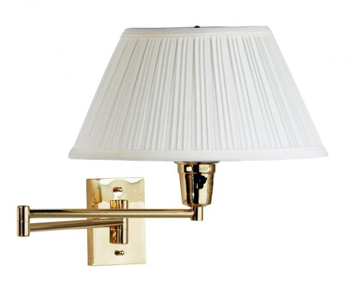 (Kenroy 30100PBES-1 Element Swing Arm Wall Lamp, Polished Solid Brass Finish with Eggshell/White Fabric Shade )
