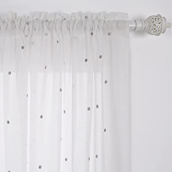 This Item Deconovo Curtains Bedroom Decor Faux India Cotton Rod Pocket Sheer  Curtains Embroidered Grey Dot Sheer Curtain Panels 52W X 96L Inch White One  ...