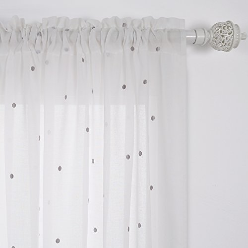 - Deconovo Curtains Embroidered Grey Dot India White Cotton Curtain Panels Rod Pocket Sheer Curtains For Bedroom 52W x 84L Inch White One Pair