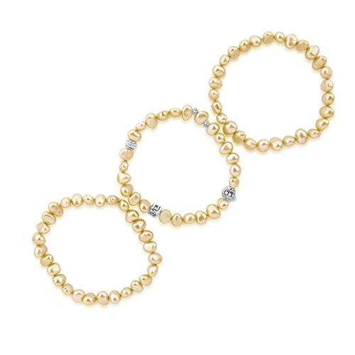 pearlpro Boucles Perle Champagne Bracelets (Lot de 3) 19,1cm