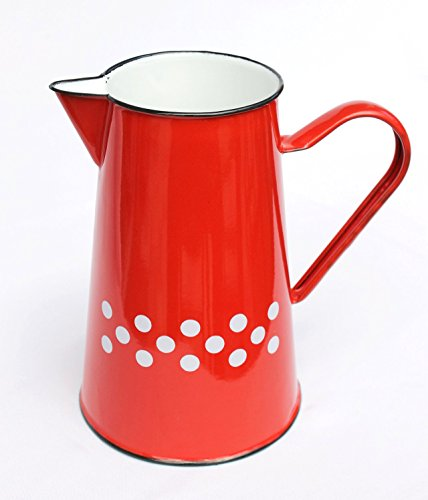 Enemal Jug BsB 8127/2 enamelled 2 L. Can Water can Enamel Milk can (2 L. Red with white dots)