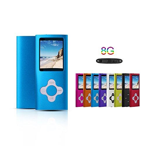 G.G.Martinsen Blue 8GB Versatile MP3/MP4 Player with Photo Viewer, Mini USB Port Slim 1.78 LCD, Digital MP3 Player, MP4 Player, Video Player, Music Player, Media Player